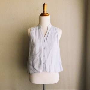 Baby Blue Sleeveless Button Front Blouse